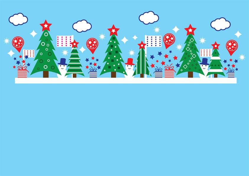 クリスマスツリーと雪だるまのポップなデザインの無料イラスト ベクター