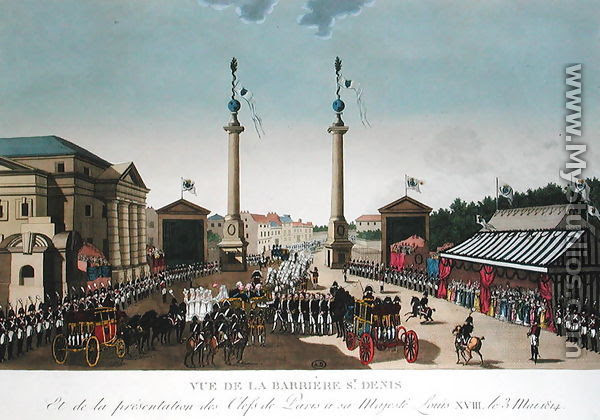 Presentation of the Keys of Paris to King Louis XVIII at the Barriere Saint-Denis on 3rd May 1814, c.1815-20 - Henri  (after) Courvoisier-Voisin