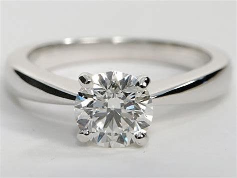 Tapered Four Prong Solitaire Engagement Ring in 14k White