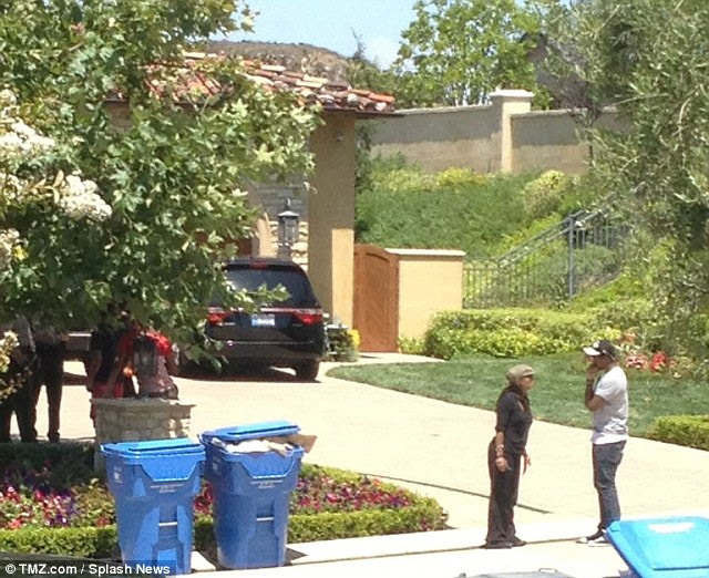 Row: The extraordinary moment Janet and Jermaine Jackson were caught rowing after being refused entry to the Jackson family home; police responded to a complaint at the Calabasas home