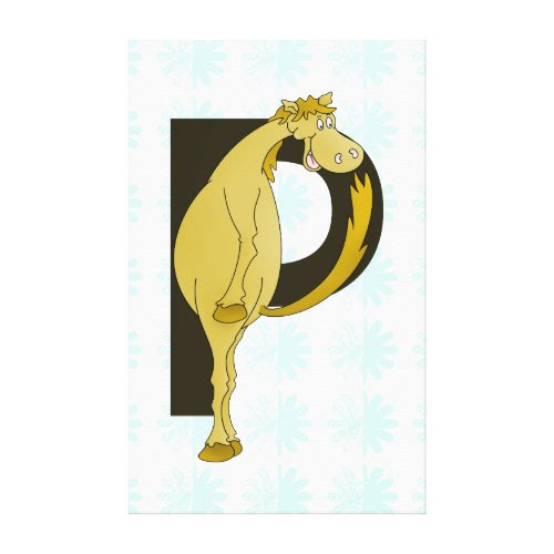 Monogram P Funny Pony Personalized Canvas Print