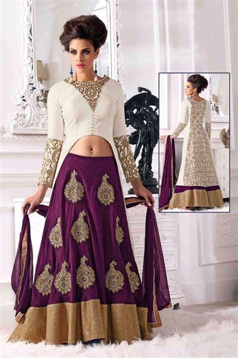$39.08 Violet Satin Indo Western Lehenga Choli 56216