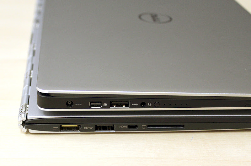 The Dell XPS 13 is 15mm thick, whereas the Lenovo Yoga 3 Pro is 12.8mm. There's really not much difference between the two.
