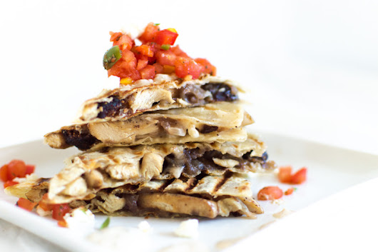 Chicken Feta Quesadilla with Harissa Salsa | That Square Plate