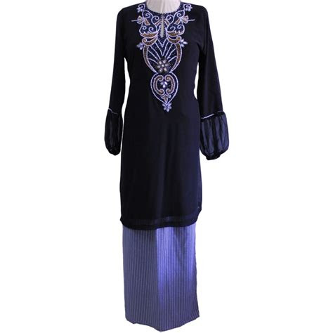 baju kurung chiffon warna hitam black sgd