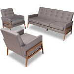 Baxton Studio Perris Mid-Century Modern Light Grey Fabric Upholstered