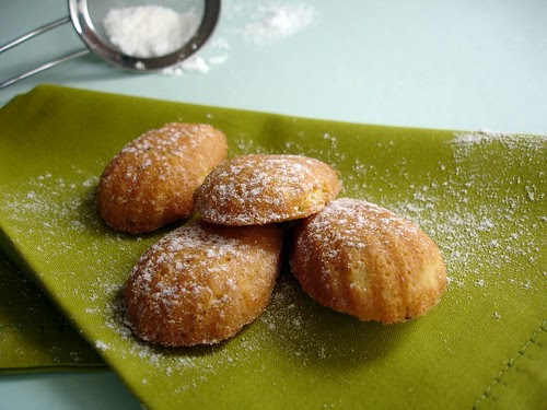 Pistachio and orange blossom water madeleines