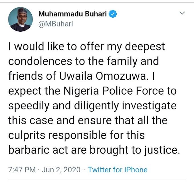 Uwaila's Rape And Death: President Buhari Reacts