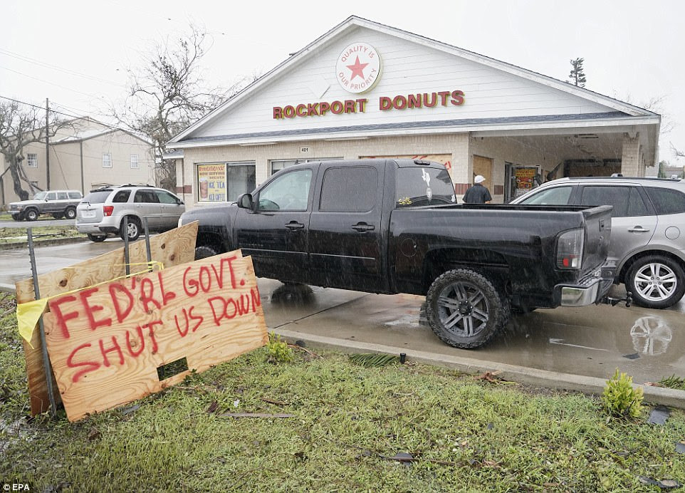 A view of Rockport Donuts, local restaurant serving food to residents and aid workers, in the aftermath of Hurricane Harvey in Rockport, Texas