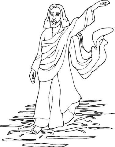 Dibujo De Jesús Camina Sobre El Agua Para Colorear Dibujos Para