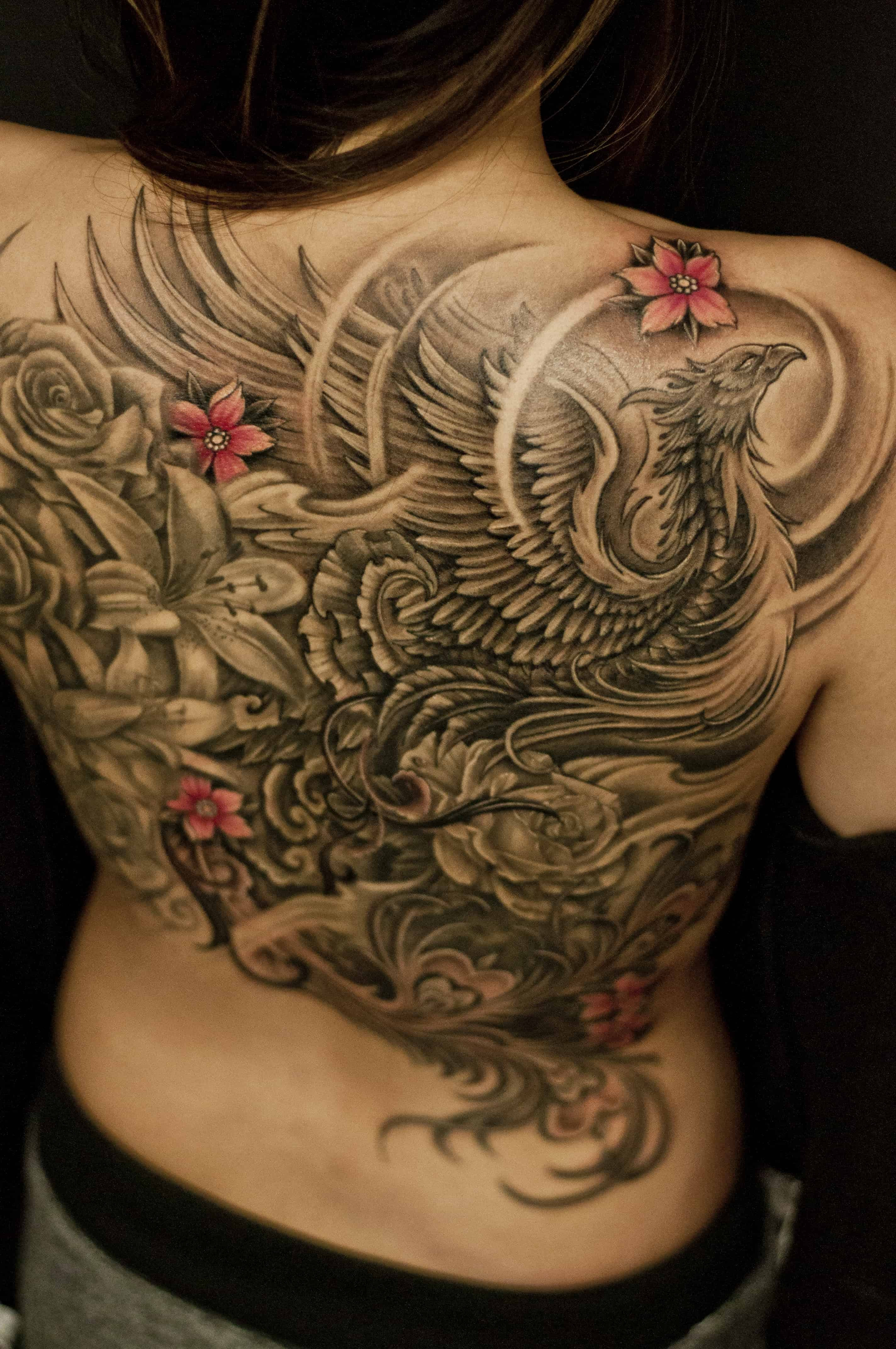 Full Back Phoenix And Flowers Tattoo Chronic Ink