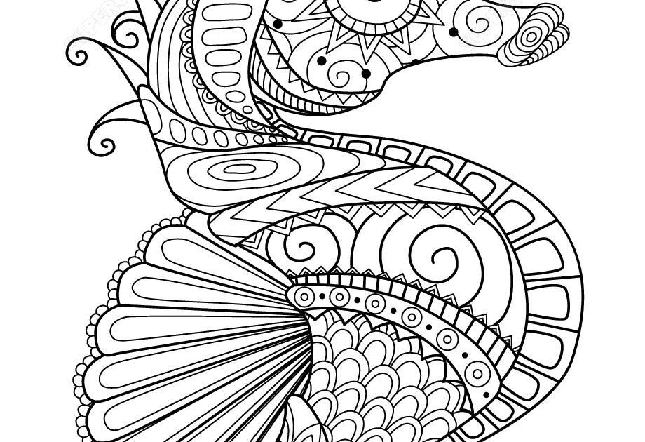 caballito de mar zentangle super coloring mandalas