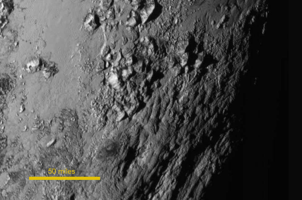 Pluto surface scale