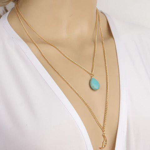 Stylish Women's Bead Moon Pendant Layered Necklace