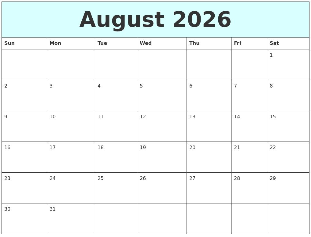 august 2026 free calendar