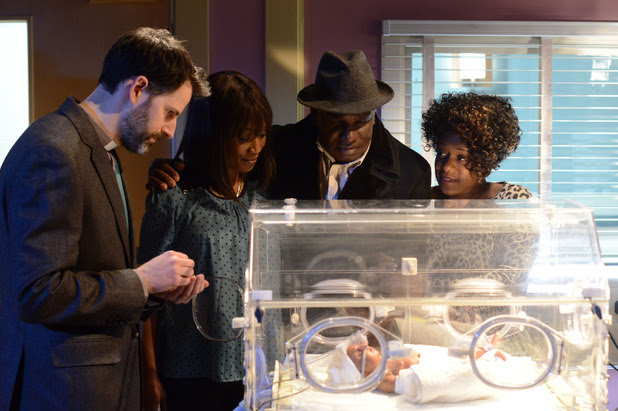 Patrick joins Kim and Denise for the christening