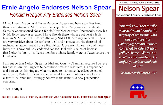 Ronald Reagan Ally Ernie Angelo Endorses Nelson Spear |