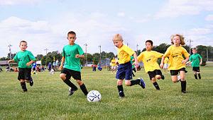 Sport in childhood. Association football, show...