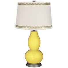 Lemon Twist Double Gourd Table Lamp with Rhinestone Lace Trim