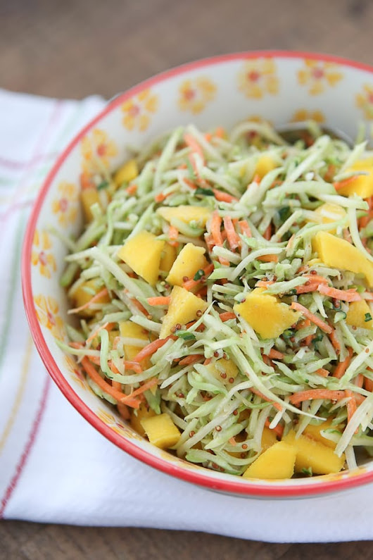 Tangy Mustard Broccoli Slaw Salad with Mango