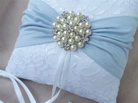 White Ring Bearer Pillow Lace Light Blue Ring Pillow Pearl