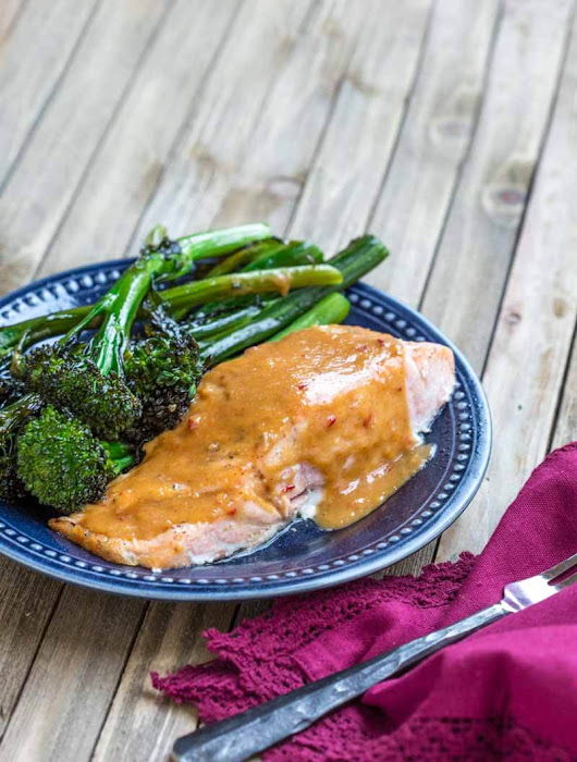 Easy Baked Salmon with Spicy Peanut Butter Glaze