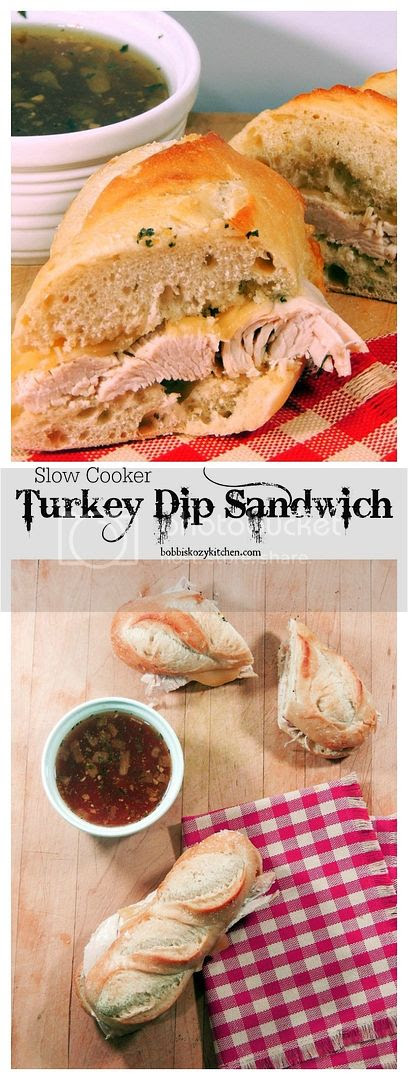 Juicy herbed turkey breast with melted cheese and crusty bread, dipped in a wonderfully flavorful au jus. What is better than that, except maybe that it is all done in the slow cooker!
