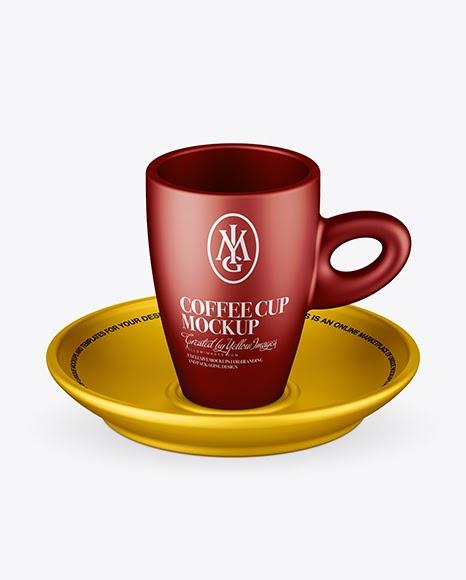 Download Matte Metallic Cup and Saucer Mockup (High-Angle Shot) Object Mockups