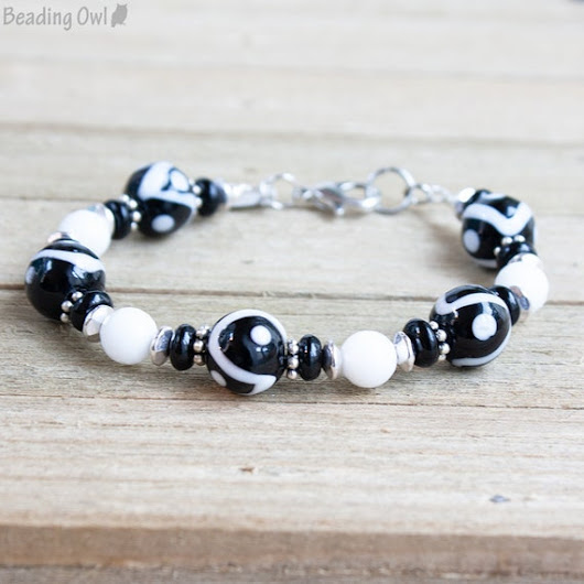 Black and White Bracelet Black White Jewelry Black