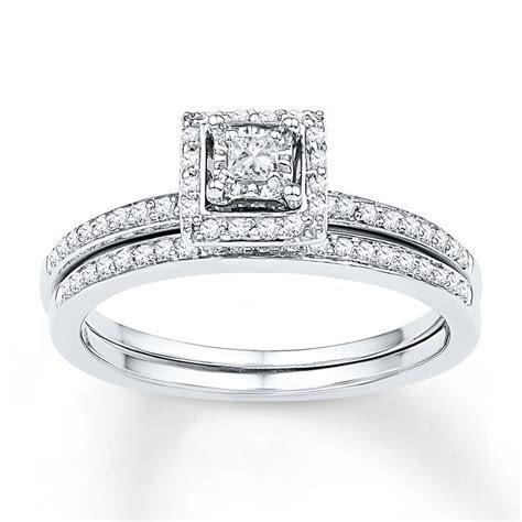 Diamond Bridal Set 1/4 ct tw Princess cut 10K White Gold