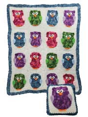 Owl Blanket & Pillow Crochet Pattern Pack - Electronic Download
