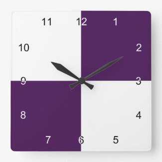 Royal Purple and White Rectangles Square Wall Clocks
