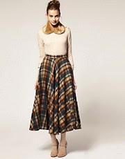 ASOS Midi Skirt in Oversized Check