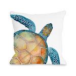 One Bella Casa 74981PL16 Oversized Sea Turtle Pillow Blue - 16 x 16 in.