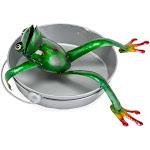 Handcrafted Metal Frog in a Bucket Birdbath