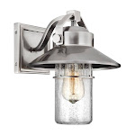 Murray Feiss Boynton 1 Light Outdoor Wall Lantern In Painted Brushed Steel Clear Seeded Glass - OL13900PBS
