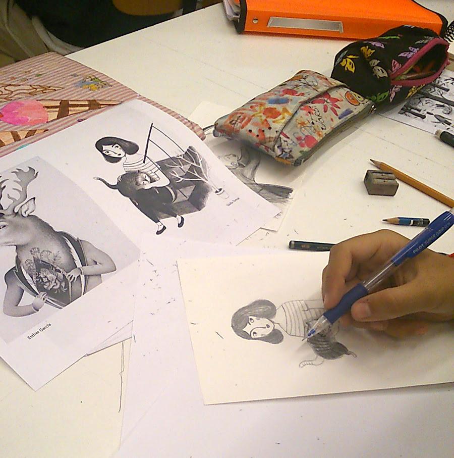 Técnicas De Ilustración El Blanco Y Negro Del Lápiz El Rotulador Y