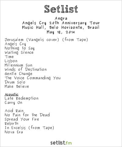 Angra Setlist Music Hall, Belo Horizonte, Brazil 2014