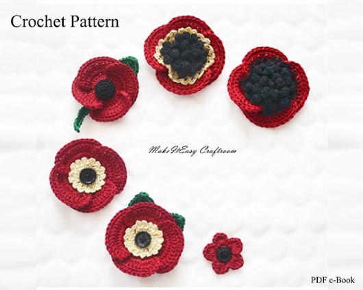 Poppy Flower Brooch Crochet Pattern These Flowersbrooches Would