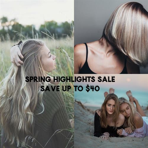 20% off baylage, foilage, full highlight,partial highlight...add a haircut and save!