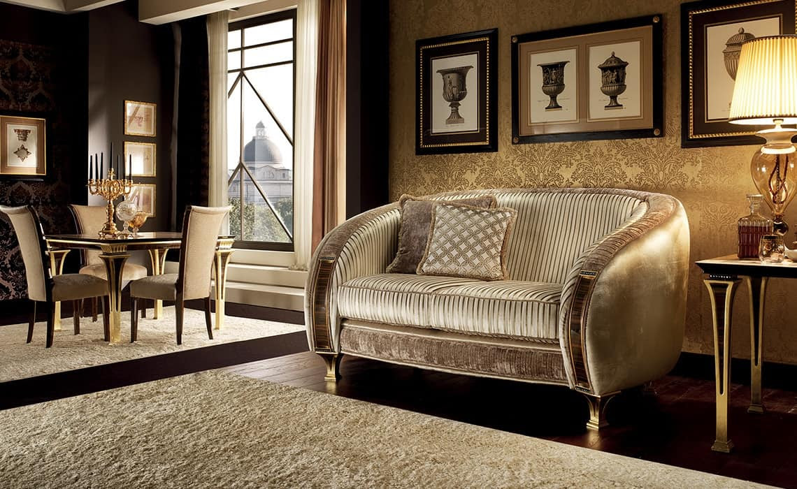 Sofa in the Belle Epoque style, pliss processing and ...