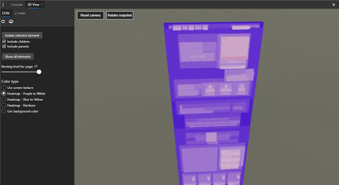 Debug z-index stacking content with 3D View in the Microsoft Edge DevTools