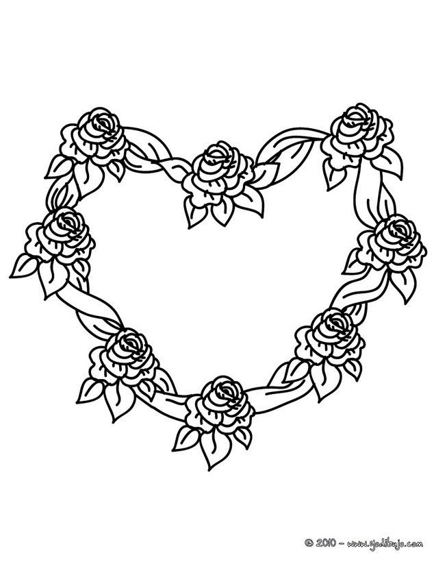 Dibujos Para Colorear Corona De Rosas En Forma De Corazon Es