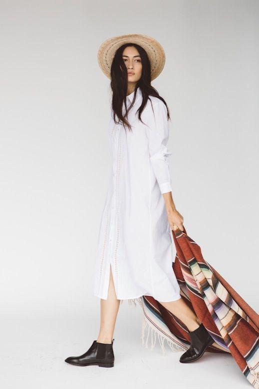 Le Fashion Blog Jenni Kayne Resort 2016 Natural Straw Hat White Shirtdress Black Ankle Boots Via Style Com