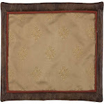 Saverio Corrales Susnet Soutwestern Pattern 4-Piece Placemat Set with Faux Leather Border - Light Chocolate 20x16