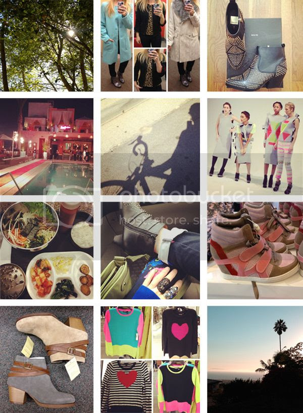 Dolce Vita Rezzie boots, sunset ocean view, LA Fashion Week, Forever 21 pink sneaker wedges, heart print sweaters, Target Xhilaration Mossimo coats, Instagram blogger