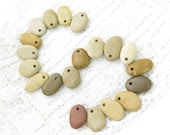Bulk, Top Drilled Beach Stones 20 pcs,for Jewelry,Crafts, DIY, Eco Friendly Beads,Mix