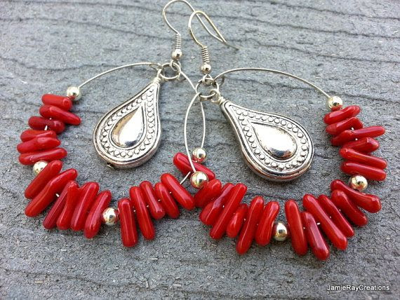 Red Coral Hoop Earrings  Memory Wire Earrings by JamieRayCreations, $32.00 https://www.etsy.com/listing/184108669/red-coral-hoop-earrings-memory-wire