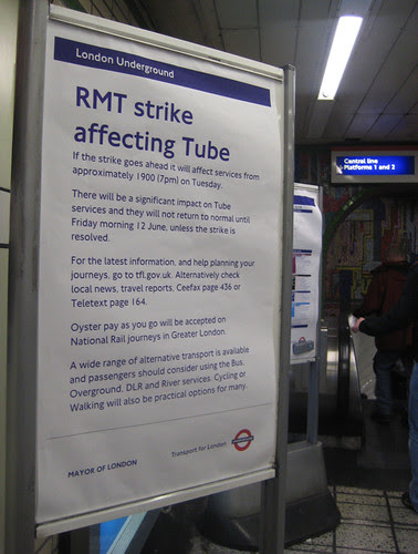 Tube Strike notice at Tottenham Court Road