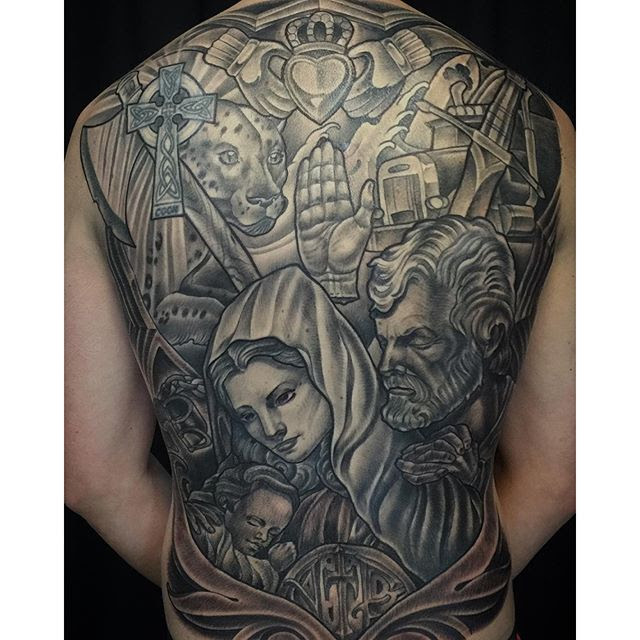 Black And Grey Back Piece Tattoo Remington Tattoo Parlor